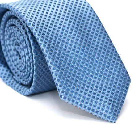Gravata-Slim-em-Poliester-Azul-Claro-com-Quadriculado-Azul-e-Detalhes-em-Branco-e-Laranja