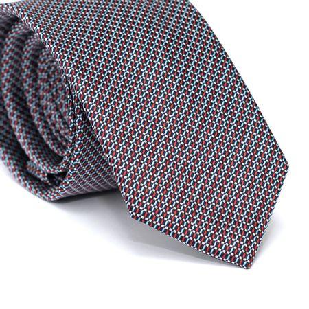 Gravata-Slim-em-Poliester-Azul-Marinho-com-Detalhes-em-Azul-Claro-Vermelho-e-Branco