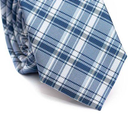 Gravata-Slim-em-Poliester-Xadrez-Azul-Claro-e-Branco-com-Detalhes-em-Azul