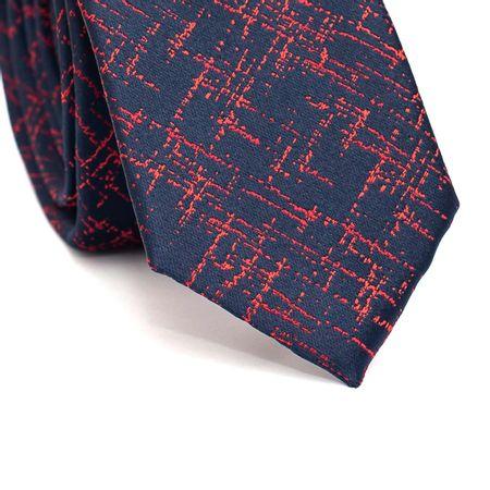 Gravata-Slim-em-Poliester-Azul-Marinho-com-Detalhes-em-Vermelho