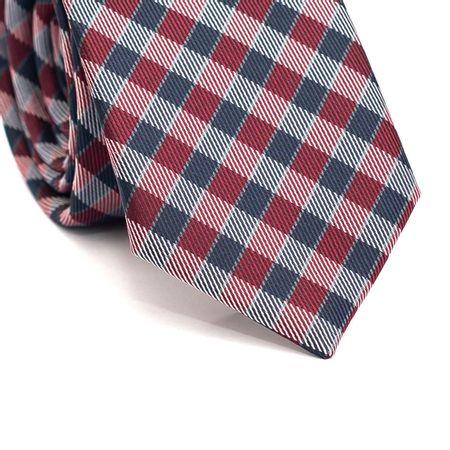 Gravata-Slim-em-Poliester-Xadrez-Vermelho-e-Azul-Marinho-com-Detalhes-em-Branco