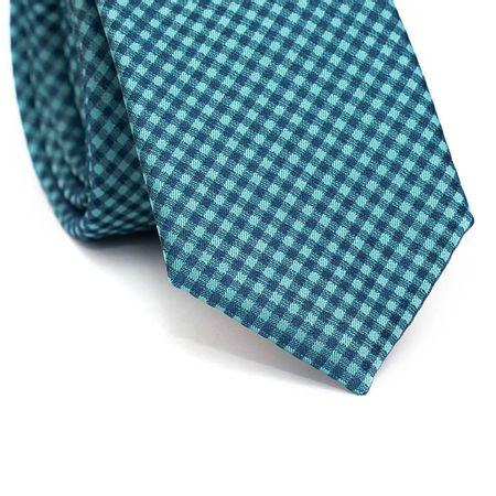 Gravata-Slim-em-Poliester-Xadrez-Turquesa-e-Azul-Marinho