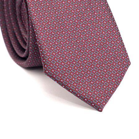Gravata-Slim-em-Poliester-Quadriculados-Vermelho-e-Cinza-com-Detalhes