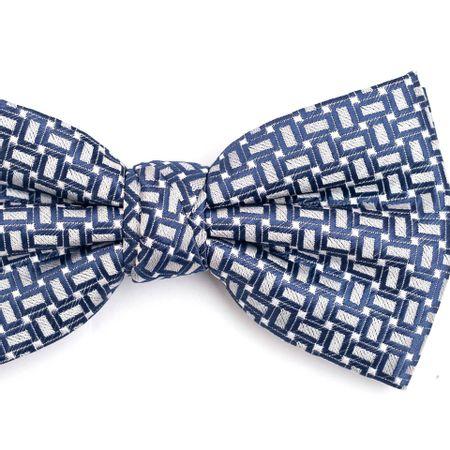 Gravata-Borboleta-em-Poliester-Cinza-com-Desenho-Geometricos-em-Azul-e-Detalhes-em-Branco