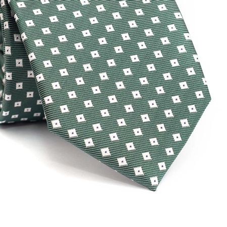 Gravata-tradicional-em-poliester-verde-com-desenhos-geometricos-em-branco-com-detalhes-em-azul