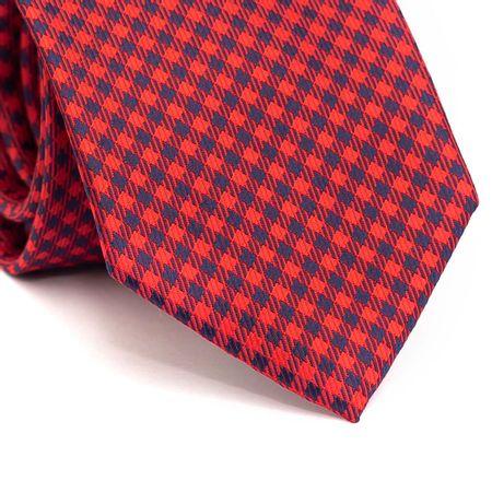 Gravata-tradicional-em-poliester-xadrez-vermelho-e-azul-marinho