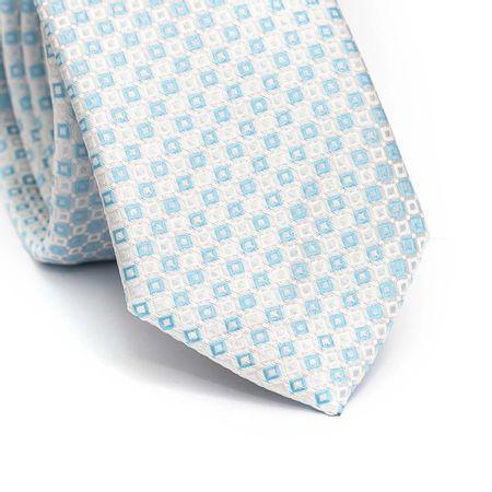 Gravata-slim-em-poliester-azul-clara-com-desenhos-geometricos-branco-e-azul