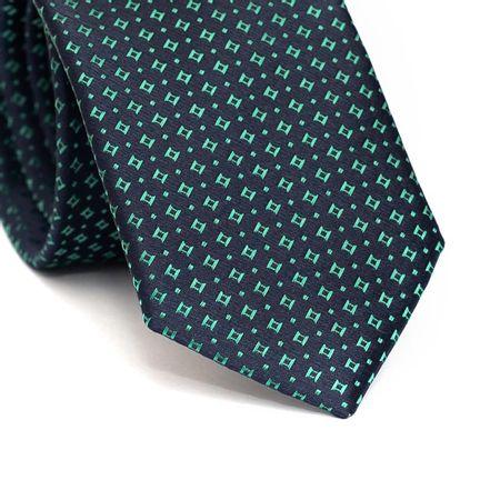 Gravata-slim-em-poliester-azul-marinho-com-desenhos-geometricos-verde