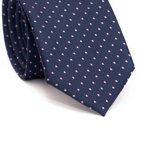 Gravata-slim-em-poliester-azul-marinho-com-poa-rosa-claro