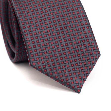 Gravata-slim-em-poliester-vermelha-com-desenho-geometrico-em-cinza