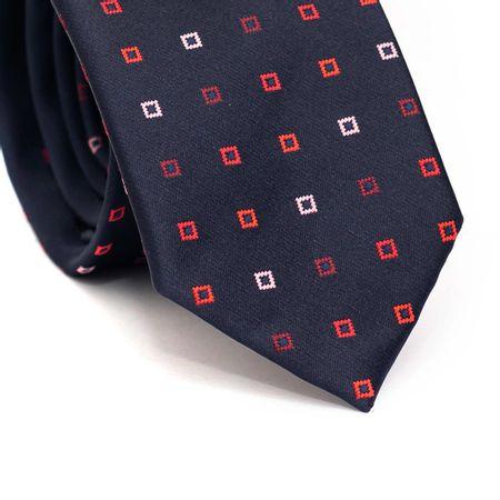 Gravata-slim-em-poliester-azul-marinho-com-desenho-geometrico-rosa-vinho-e-vermelho