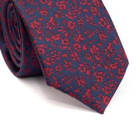 Gravata-slim-em-poliester-azul-marinho-com-floral-vermelho