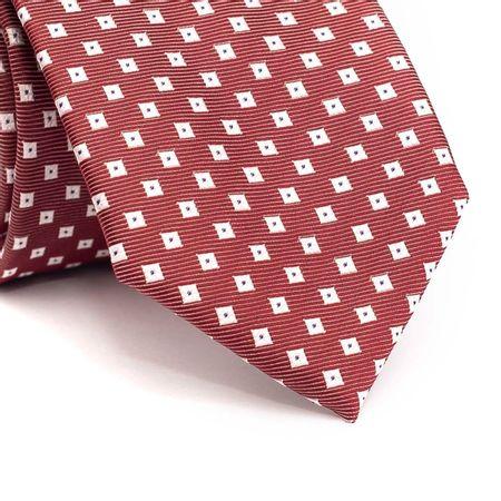 Gravata-tradicional-em-poliester-vermelha-com-desenhos-geometricos-branco-com-detalhes-em-azul