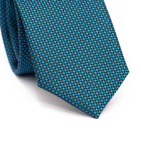 Gravata-slim-em-poliester-com-quadriculado-azul-verde-e-preto