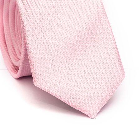 Gravata-slim-em-poliester-rosa-claro-com-detalhes-na-trama