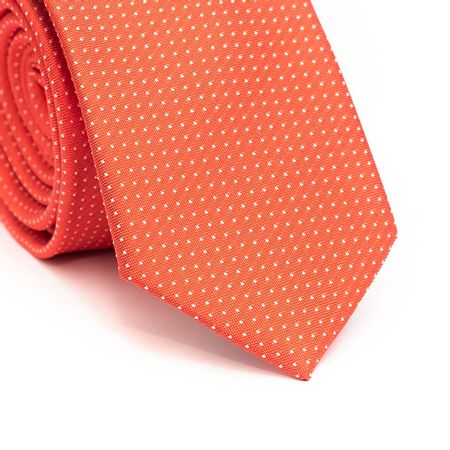 Gravata-slim-em-poliester-laranja-com-pontos-brancos