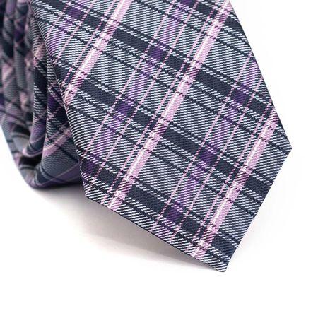 Gravata-slim-em-poliester-xadrez-rosa-roxo-azul-marinho