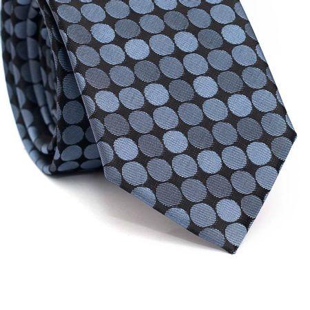 Gravata-slim-em-poliester-preta-com-circulos-em-tons-de-azul