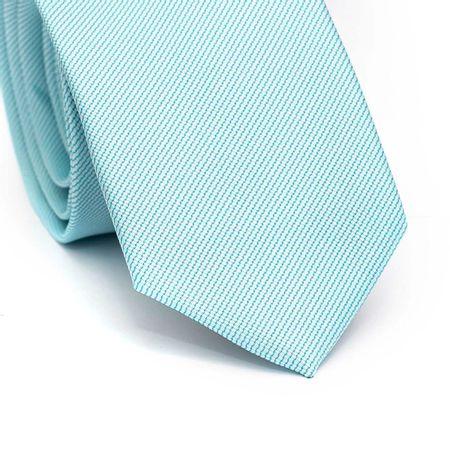 Gravata-slim-em-poliester-azul-tiffany-com-detalhes-na-trama