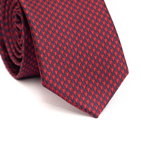 Gravata-slim-em-poliester-vermelha-com-desenho-geometrico-em-azul-marinho