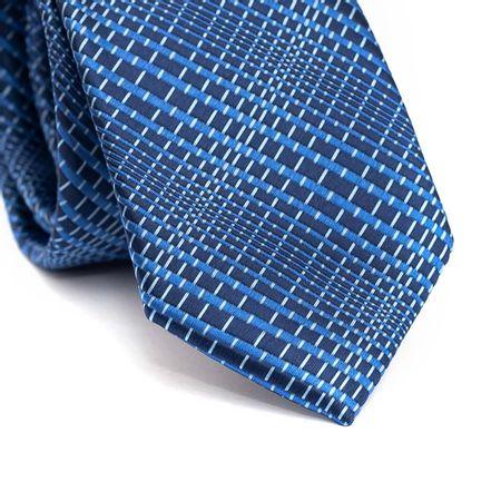 Gravata-slim-em-poliester-azul-marinho-com-desenhos-geometricos-em-tons-de-azul