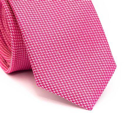 Gravata-slim-em-poliester-rosa-com-detalhes-em-branco-na-trama