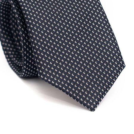 Gravata-slim-em-poliester-preta-com-detalhe-em-azul-e-branco