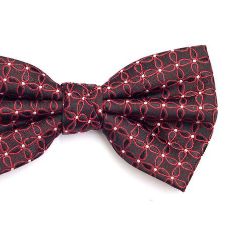 Gravata-borboleta-preta-com-desenhos-geometricos-vermelho-e-pontos-em-branco