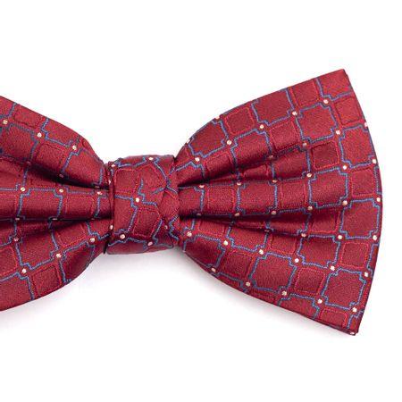 Gravata-borboleta-em-poliester-vermelha-com-desenho-geometrico-azul-e-vermelho-com-detalhe-em-branco