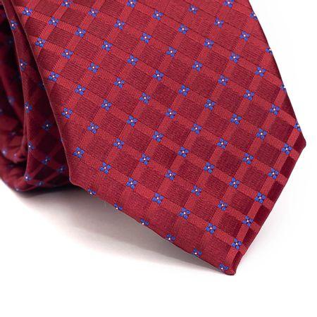 Gravata-tradicional-em-poliester-xadrez-vinho-com-detalhe-floral