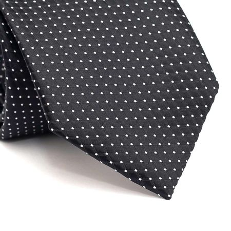 Gravata-tradicional-em-poliester-preta-com-desenho-geometrico-na-trama-e-com-pontos-branco