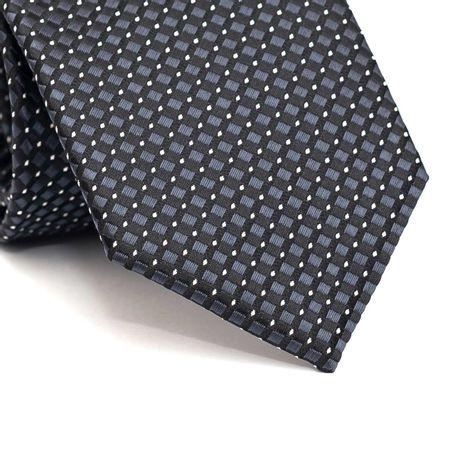 Gravata-tradicional-em-poliester-preta-com-desenho-geometrico-cinza-chumbo-e-poa-em-branco