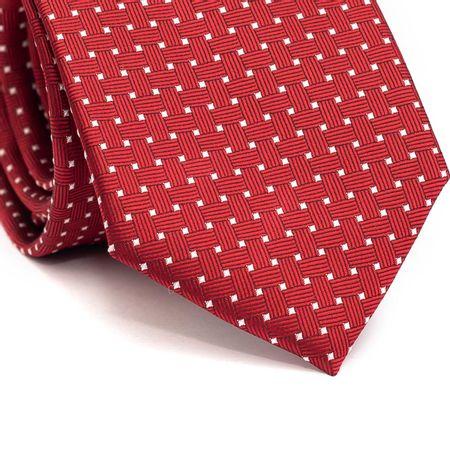 Gravata-tradicional-em-poliester-vermelha-com-detalhes-na-trama-e-quadriculado-branco