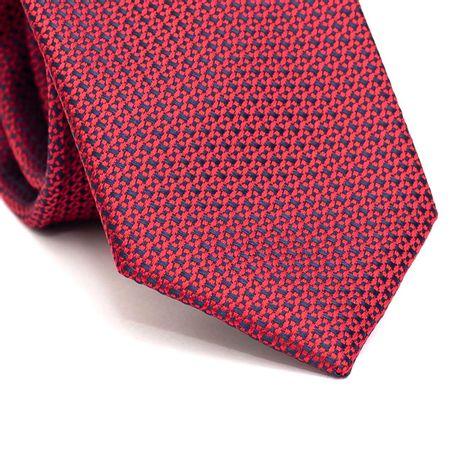 Gravata-tradicional-em-poliester-azul-com-desenho-geometrico-vermelho