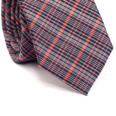 Gravata-slim-em-poliester-xadrez-azul-marinhobranco-e-laranja