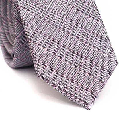 Gravata-slim-em-poliester-xadrez-cinza-com-detalhes-em-rosa-claro