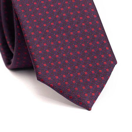 Gravata-slim-em-poliester-azul-marinho-com-desenhos-geometricos-em-vinho