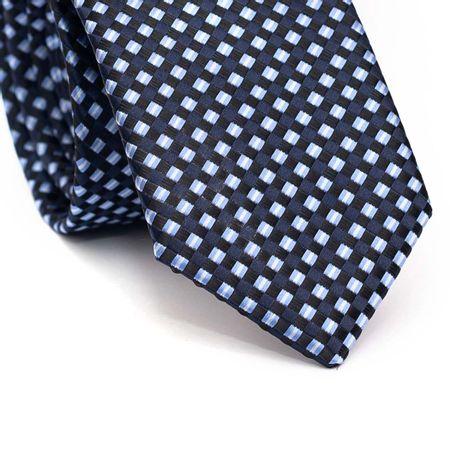 Gravata-slim-em-poliester-azul-marinho-com-quadriculado-preto-azul-claro-e-detalhes-branco