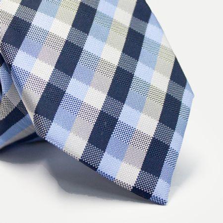 Gravata-tradicional-em-poliester-xadrez--branco--cinza-e-tons-de-azul