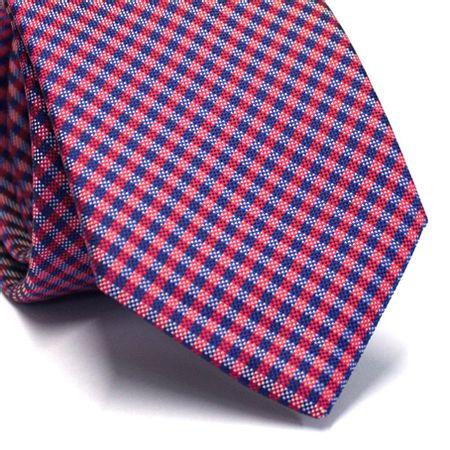Gravata-tradicional-em-poliester-xadrez-azul-marinho-vermelho-e-branco