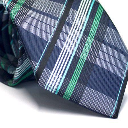 Gravata-tradicional-em-poliester-xadrez-em-tons-de-verde-azul-e-branco