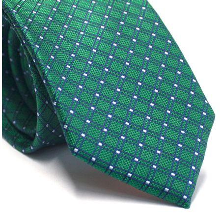 Gravata-tradicional-em-seda-verde-com-quadriculado-azul-e-cinza