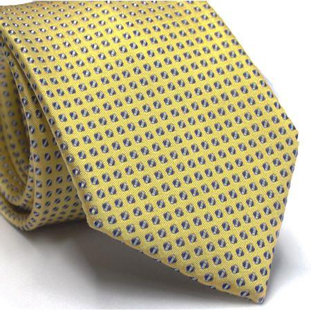Gravata-tradicional-em-seda-amarela-com-desenho-geometrico-em-tons-de-azul