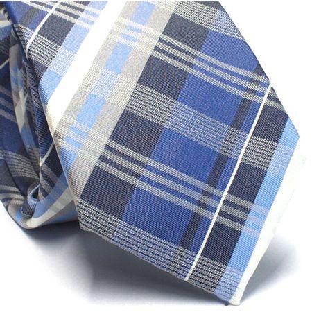 Gravata-slim-em-seda-xadrez-tons-de-azul-e-branco