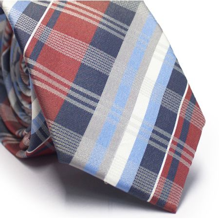Gravata-slim-em-seda-xadrez-azul-vermelho-cinza-e-branco
