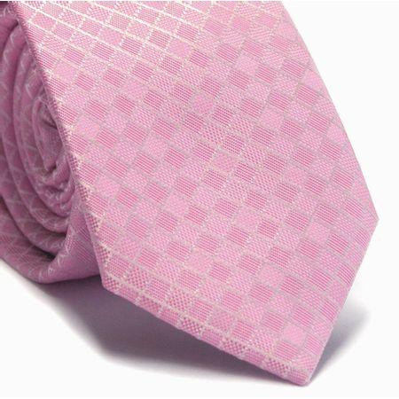 Gravata-slim-em-poliester-rosa-com-quadriculado-branco