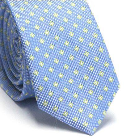 Gravata-slim-em-poliester-azul-claro-com-detalhes-geometricos-verde-claro-e-branco