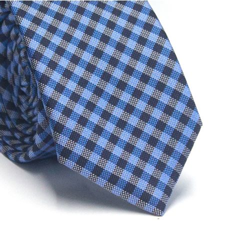 Gravata-slim-em-poliester-xadrez-azul-royal-preto-e-branco