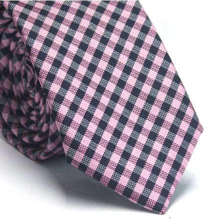 Gravata-slim-em-poliester-xadrez-rosa-preto-e-branco