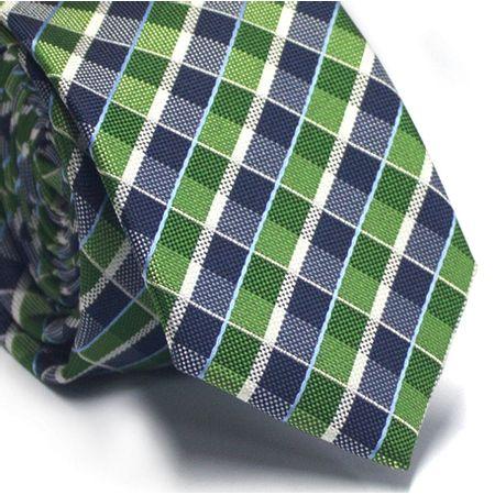 Gravata-slim-em-poliester-xadrez-verde-e-azul-com-detalhes-em-branco-e-azul